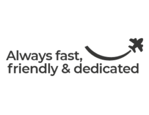 Our brand primise is always fast, friendly and dedicated. In the logo, there's a small airplane that draws a smile