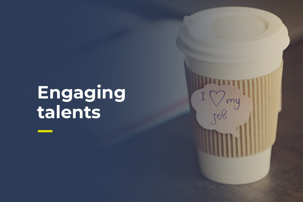 The title says engaging talents and there's the pic of a coffee cup that says I love my job